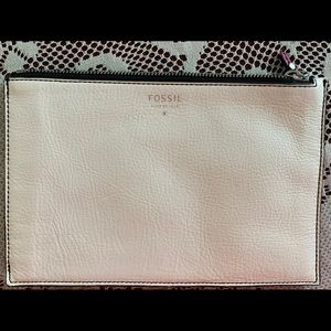 Fossil white leather pouch